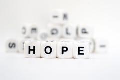Hoffnung, Würfelbuchstaben Lizenzfreie Stockbilder