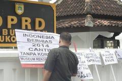 HOFFNUNGS-PLAKAT-BLICK RECHT OHNE KORRUPTION IN INDONESIEN Stockbild