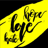 Hoffnungsliebes-Hassgelb lizenzfreie abbildung