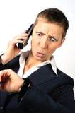 Hoffnungslose Frau mit einem Telefon 2 Lizenzfreies Stockbild