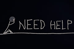 Hoffnungsloses Rufung um Hilfe, Person, die Hilfe, ungewöhnliches Konzept benötigt Stockbilder