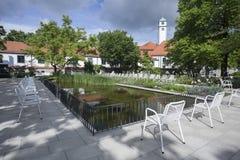 Hofgarten in Augsburg. Hofgarten with Pond and Seats in Augsburg royalty free stock photos