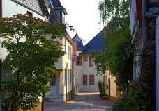 Narrow street of ancient Hofheim , Germany. Hofheim Hofheim am Taunus - administrative centre of Main-Taunus district, German state of Hesse, near Frankfurt royalty free stock images