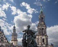 Hofkirche или собор святейшей троицы - барочной церков в Дрезден, Sachsen, Германии Стоковые Фотографии RF