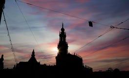 Hofkirche или собор святейшей троицы - барочной церков в Дрезден, Sachsen, Германии Стоковые Изображения RF