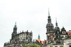 Hofkirche 古老路德教会的大教堂在德累斯顿,德国 古老路德教会的大教堂在德累斯顿,德国 库存照片