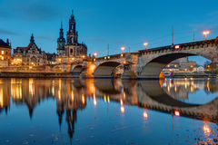 Hofkirche and bridge in Dresden at dawn Stock Images