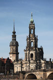 Hofkirche Cathedral and the Dresden Castle in Dresden Stock Images