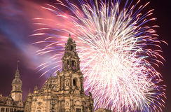 Hofkirche or Cathedral of Holy Trinity and holiday fireworks - baroque church in Dresden, Sachsen, Germany Royalty Free Stock Photo