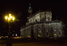 Hofkirche Dresden. Hofkirche at the theatre place. It is located at the river Elbe Royalty Free Stock Photos