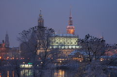 Hofkirche in Dresden, Germany. Night view in snow of Hofkirche in Dresden, Germany Stock Photos