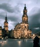 Hofkirche in Dresden illuminated Stock Photos