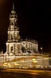 Hofkirche przy nocą Fotografia Royalty Free