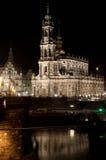 Hofkirche przy nocą Obraz Stock