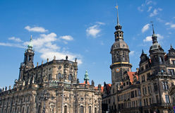 Hofkirche and Residenzschloss in Dresden Royalty Free Stock Photo