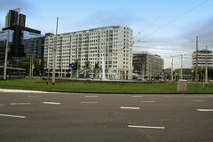 Hofplein, centraal vierkant met fontein in Rotterdam royalty-vrije stock foto
