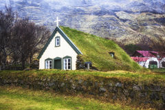 Hofskirkja kyrka/torva kyrkliga Hofskirkja, Island Arkivbilder