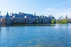 Hofvijver and Binnenhof, Hague, Netherlands. Lake view of Hofvijver and Binnenhof, The Hague, Netherlands royalty free stock image
