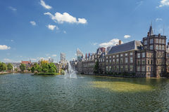 Hofvijver fountain and a small island overgrown with plants. Stock Images