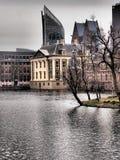 Hofvijver lake and art gallery Mauritshuis Stock Photography