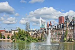 Hofvijver lake with a view on the Binnenhof, seat of Dutch government. Hofvijver lake with a view on the Binnenhof, seat of Dutch government, The Netherlands royalty free stock photography