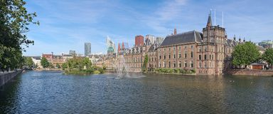 Hofvijver Pond with Binnenhof complex in The Hague, Netherlands. Panoramic view of Hofvijver Pond Court Pond with Binnenhof complex in The Hague, Netherlands royalty free stock photos