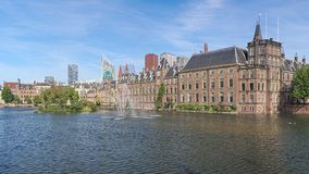 Hofvijver Pond with the Binnenhof complex in The Hague, Netherlands. The Hofvijver Pond Court Pond with the Binnenhof complex in The Hague, Netherlands royalty free stock images
