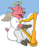 Hog Heaven. A hog in heaven is happily playing his harp Stock Photography