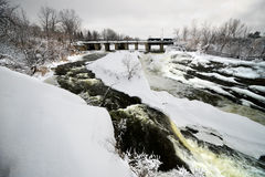 Hog's Back Falls in Ottawa, Canada in Winter Royalty Free Stock Images
