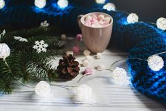 Hogar acogedor del invierno Taza de cacao con las melcochas Foto de archivo libre de regalías