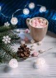 Hogar acogedor del invierno Taza de cacao con las melcochas Foto de archivo
