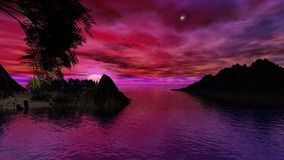 Hogar antes de la puesta del sol, de par en par Foto de archivo