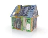 Hogar australiano con los billetes de banco Imágenes de archivo libres de regalías