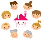 Hogar con su familia Imagen de archivo libre de regalías