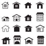 Hogar, condominio, torre, iconos del apartamento fijados ilustración del vector