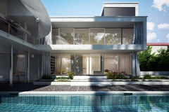 Hogar contemporáneo con una opinión de la piscina ilustración del vector