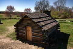 Hogar de Encampment Wood Cabin del soldado en la fragua del valle fotografía de archivo
