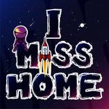Hogar de la falta del astronauta ilustración del vector