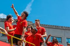 Hogar de la parte posterior del equipo de fútbol de Bélgica imagen de archivo