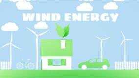 Hogar de papel de la historieta con las turbinas de la energía eólica Concepto ecológico Animación realista 4K stock de ilustración