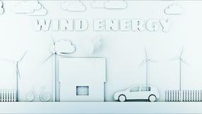 Hogar de papel de la historieta con las turbinas de la energía eólica Concepto ecológico Animación realista 4K libre illustration