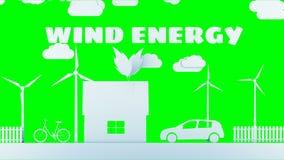 Hogar de papel de la historieta con las turbinas de la energía eólica Concepto ecológico Animación realista 4K Pantalla verde libre illustration