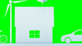 Hogar de papel de la historieta con las turbinas de la energía eólica Concepto ecológico Animación realista 4K Pantalla verde ilustración del vector
