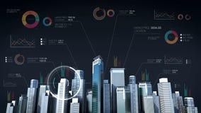 Hogar del diseño de la construcción Technology el horizonte de la ciudad del edificio y hace la ciudad con la carta económica, di stock de ilustración