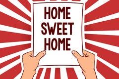 Hogar del dulce del hogar de la escritura del texto de la escritura Significado del concepto en el hombre relajado del tiempo de  ilustración del vector