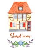 Hogar del dulce de la tarjeta de felicitación de la acuarela Casa de entramado de madera, flores, ramas stock de ilustración