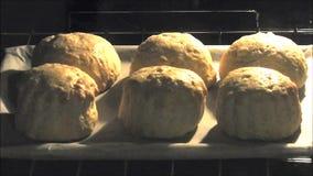 Hogar del lapso de tiempo que cuece cocinando los scones de las tortas de la cocina en horno almacen de video