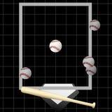 Hogar del palo de las bolas del cabeceo del béisbol de la huelga Fotos de archivo libres de regalías