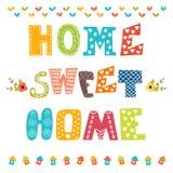 Hogar dulce casero Diseño del cartel con el texto decorativo Imagen de archivo libre de regalías