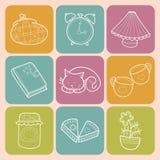 Hogar dulce determinado del vector con los elementos del hogar del diseño, el gato lindo, la taza de café, la torta, el atasco, l Imágenes de archivo libres de regalías